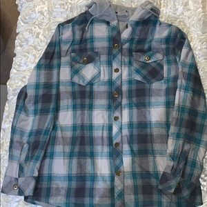 Tops - Thermal plaid button up